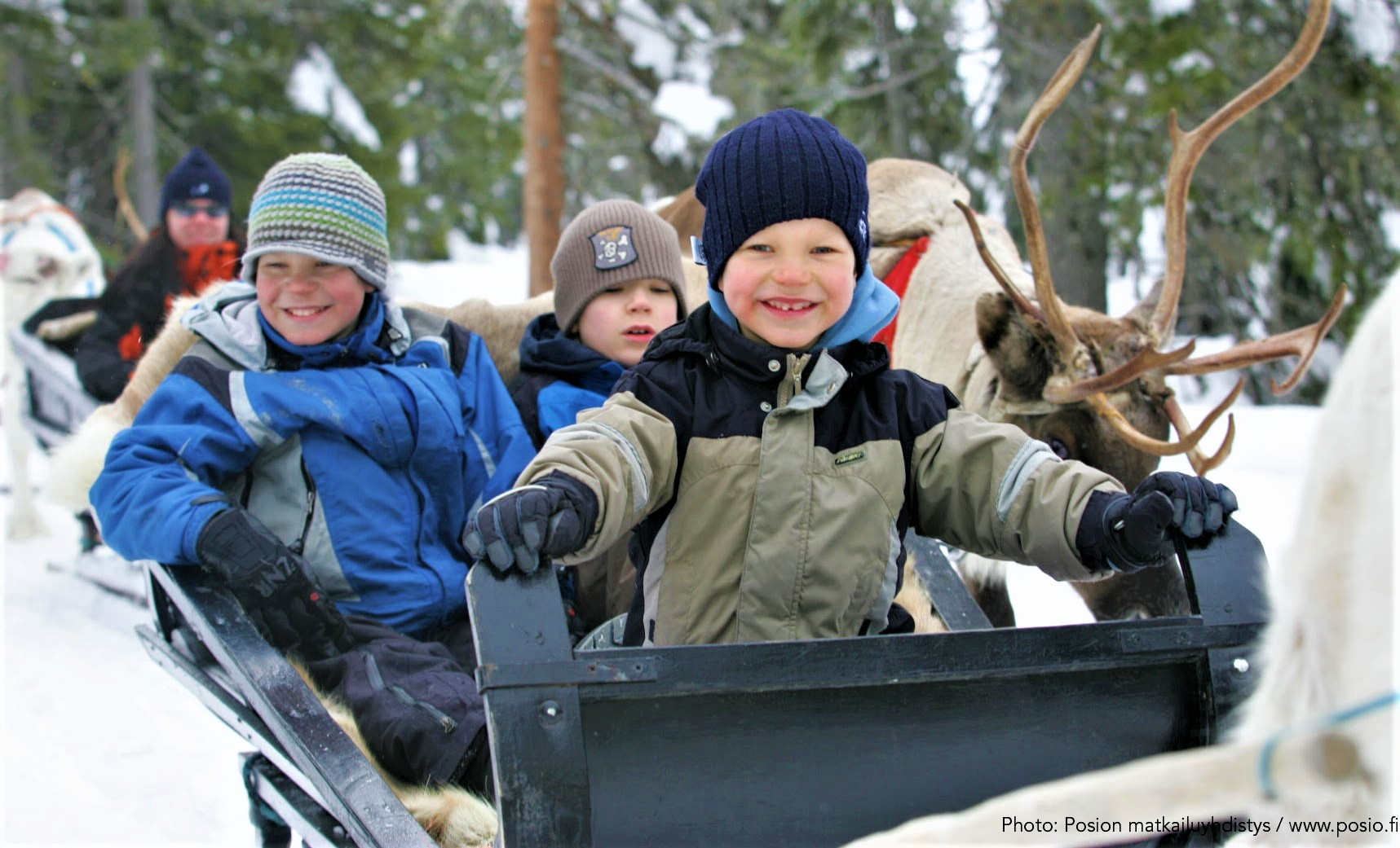 Kids excited to take a reindeer sleigh ride in Posio