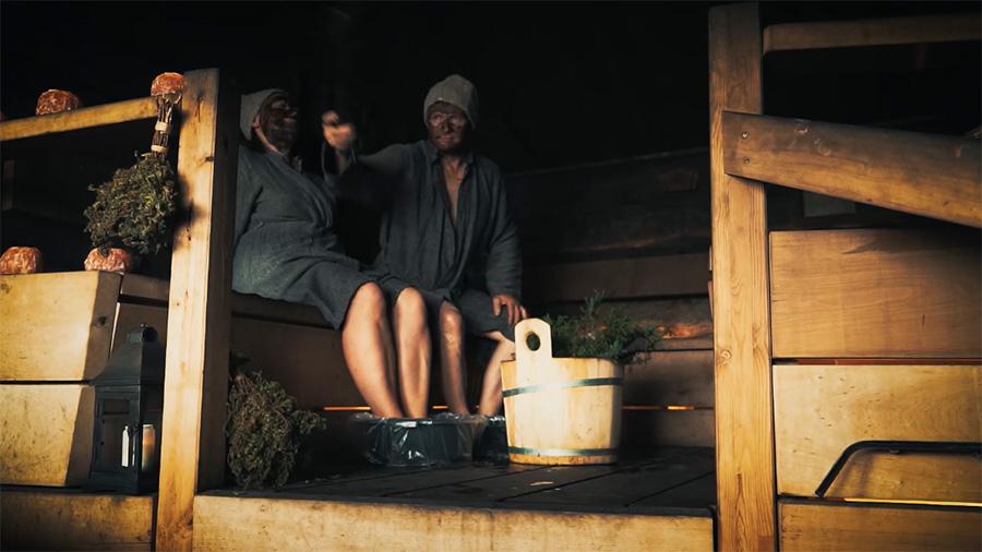Relaxing in a sauna in Kuusamo